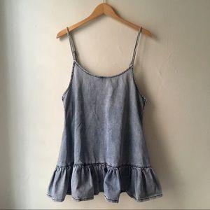 One Teaspoon Denim Lotus Ruffle Hem Mini Dress L/8